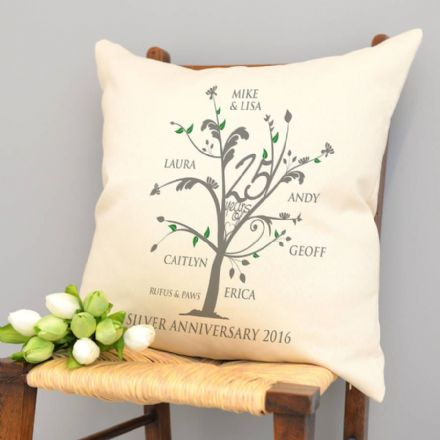 Personalised Silver Anniversary Family Tree Cushion